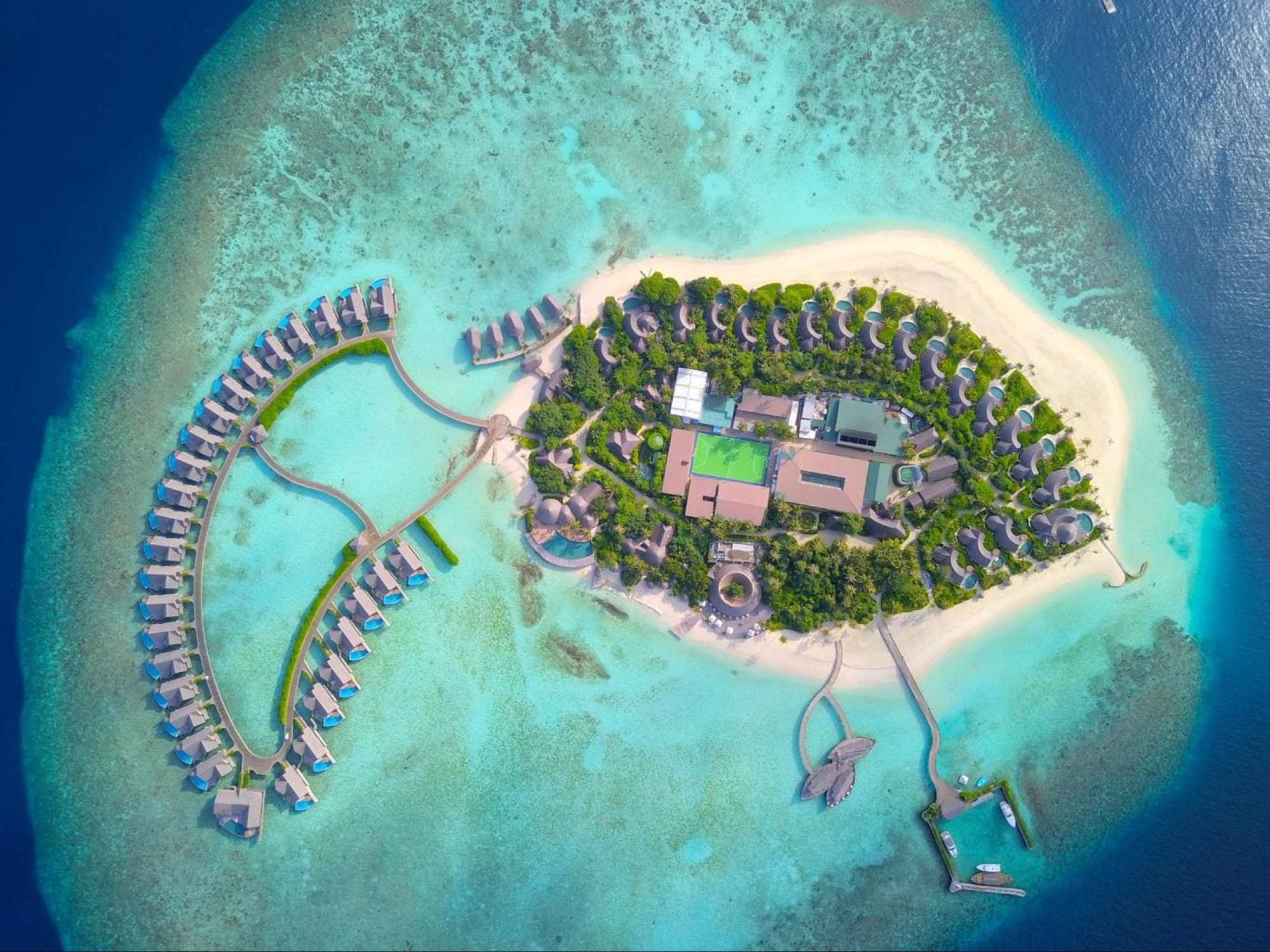 Milaidhoo drone shot with the whole resort