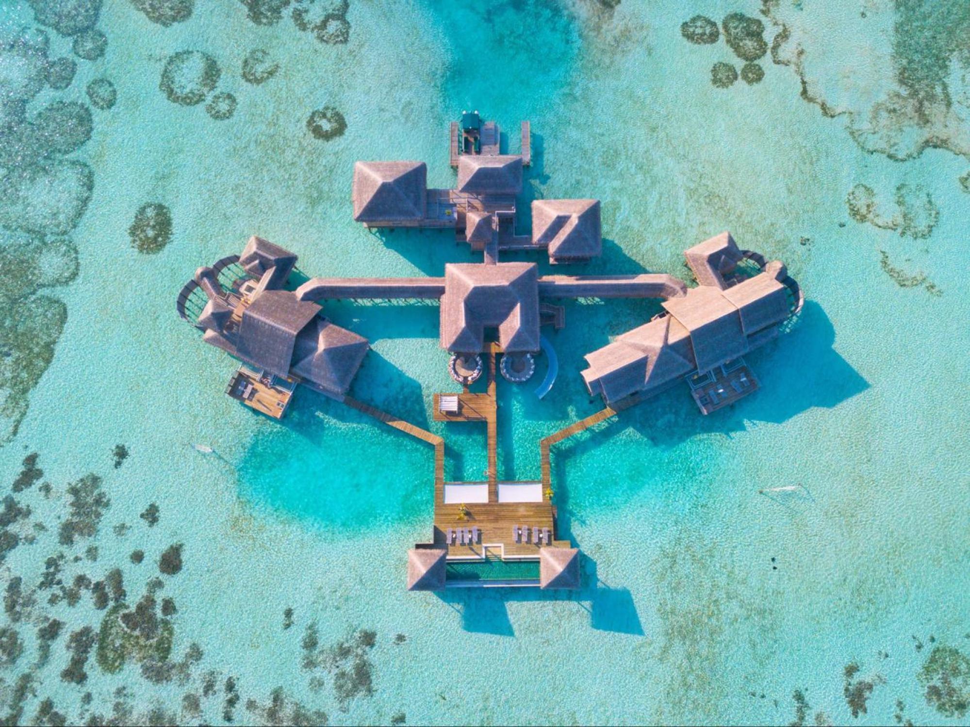 Private Reserve at Gili Lankanfushi drone shot