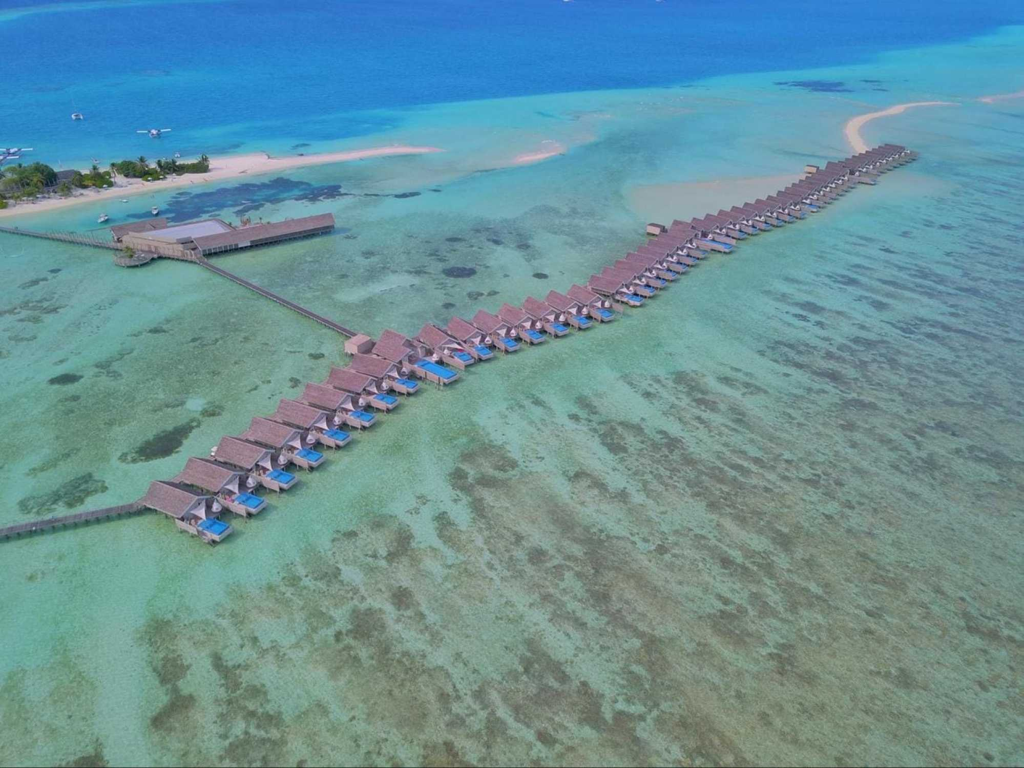The row of Romantic pool water villas at LUX*
