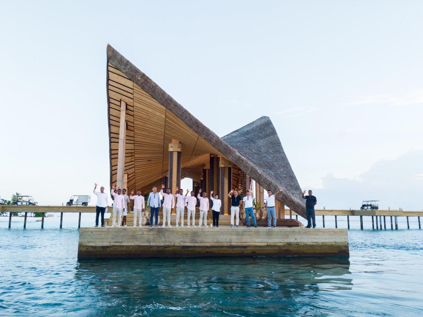 The entire team at Joali Maldives waving goodbye