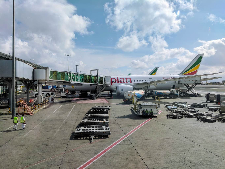 New Ethiopian Airlines Boeing 787 plane exterior
