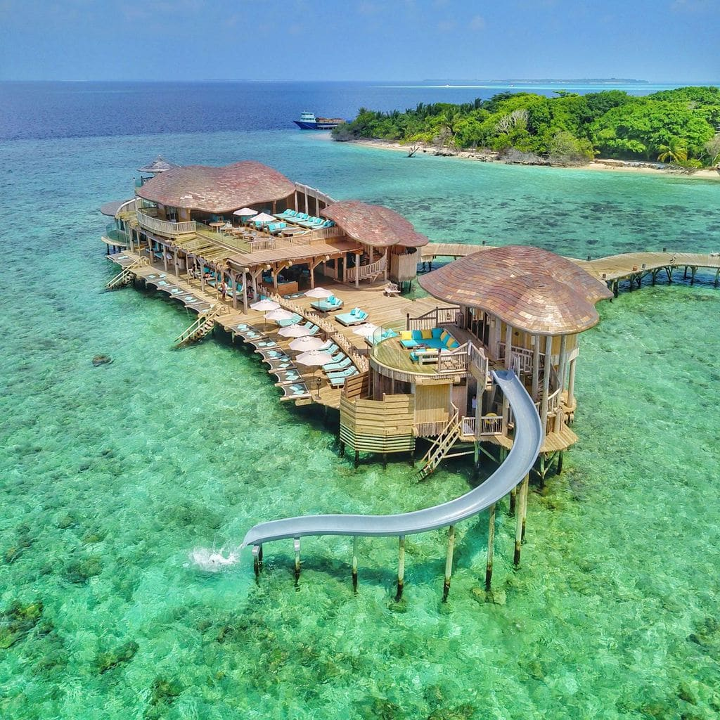 Out of the Blue restaurant at Soneva Fushi drone shot