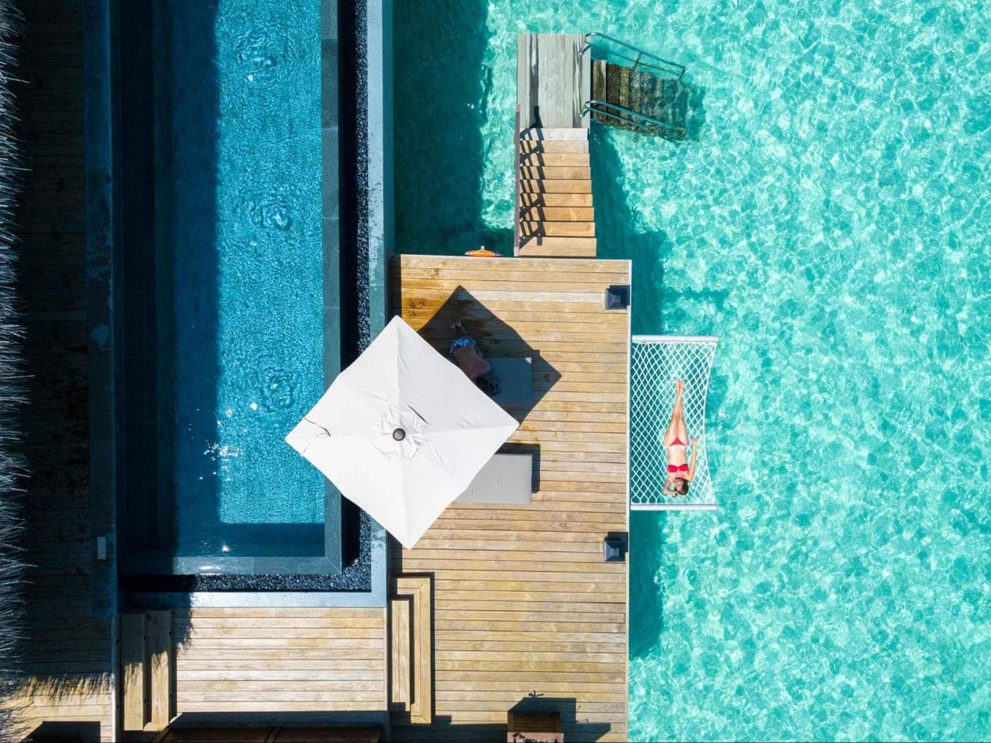 Outdoor decks at Joali's Luxury Water Villas