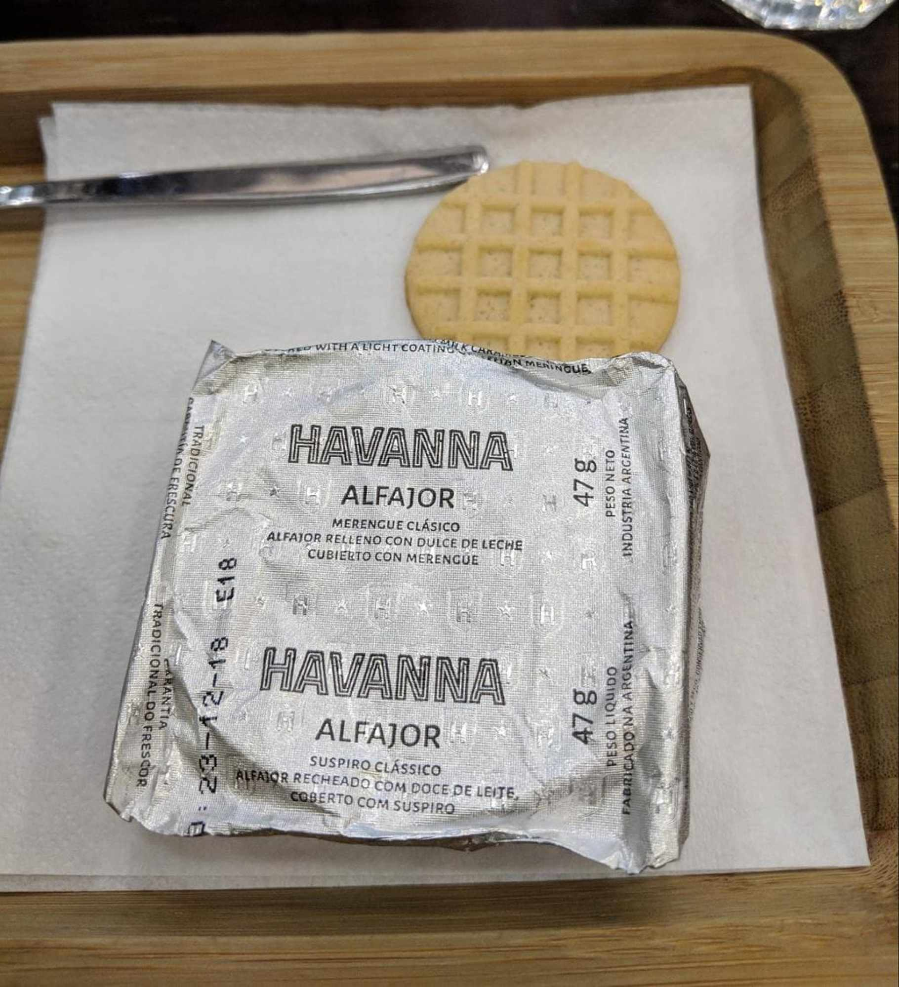 Individually wrapped alfajor from Havanna