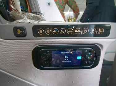 Touch screen on the Singapore Airlines Boeing 787-10 Business Class