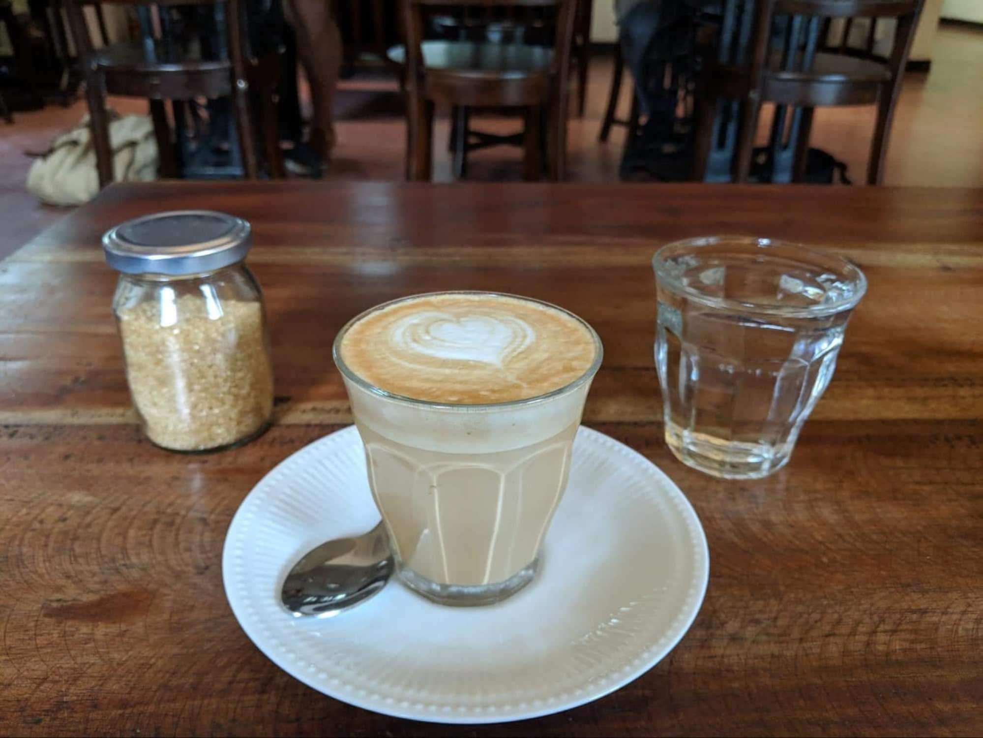 A latte at Black Cat Cafe