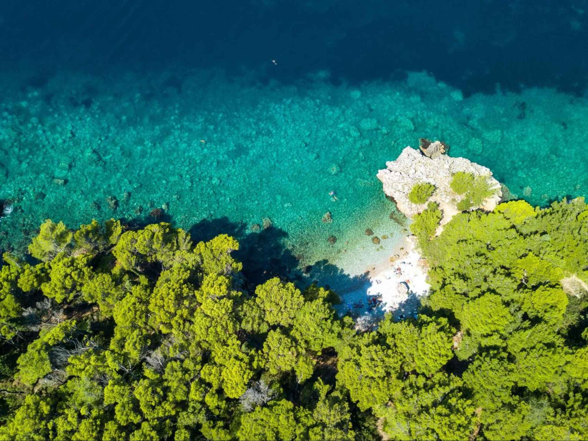 Hidden beach from above
