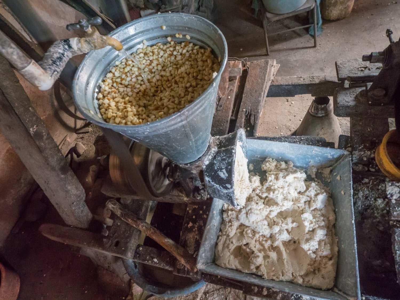 """Making corn dough or masa"""