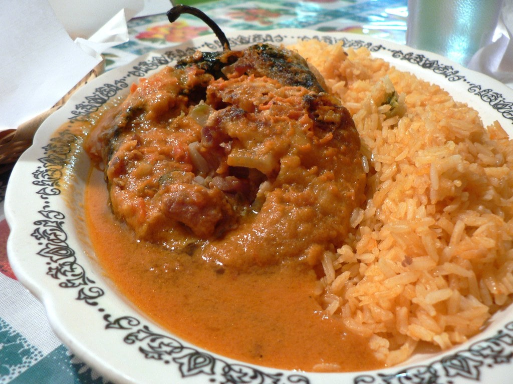 Chiles rellenos, or stuffed peppers filled with pork, breaded and deep fried