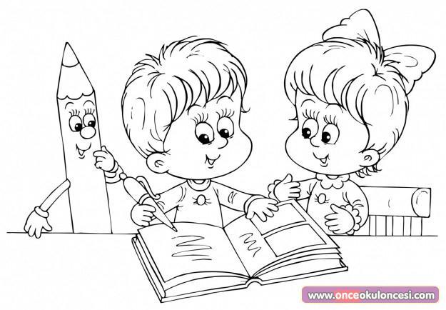 Çocuklar kitap okuyor (boyama sayfaları)