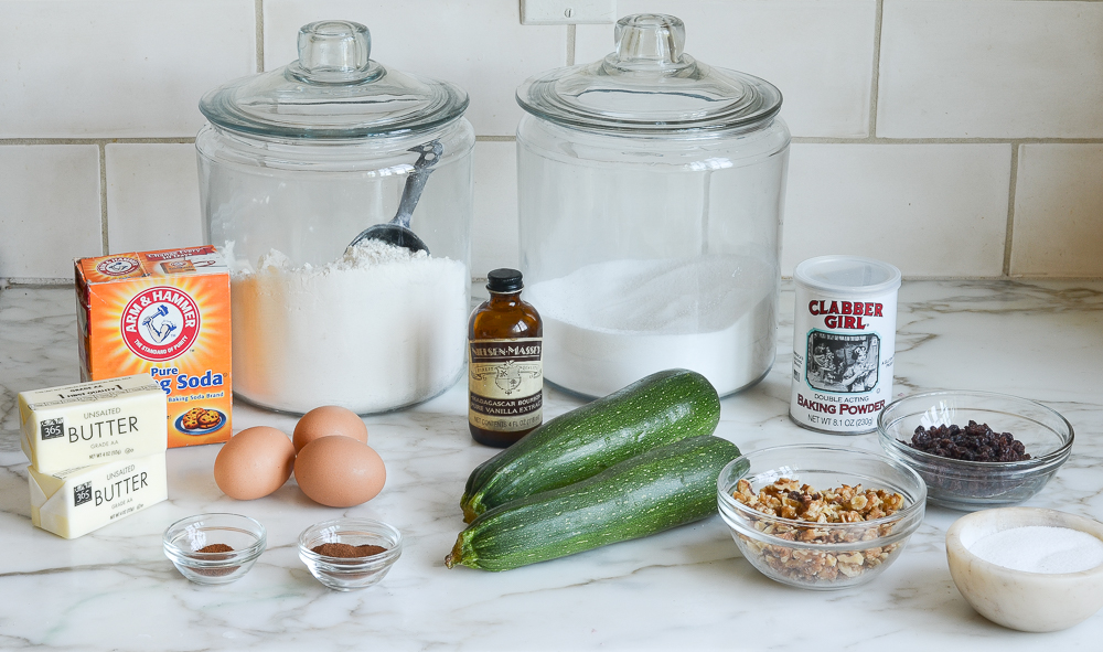 ingredients for zucchini bread