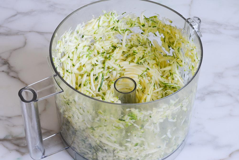 shredded zucchini in food processor