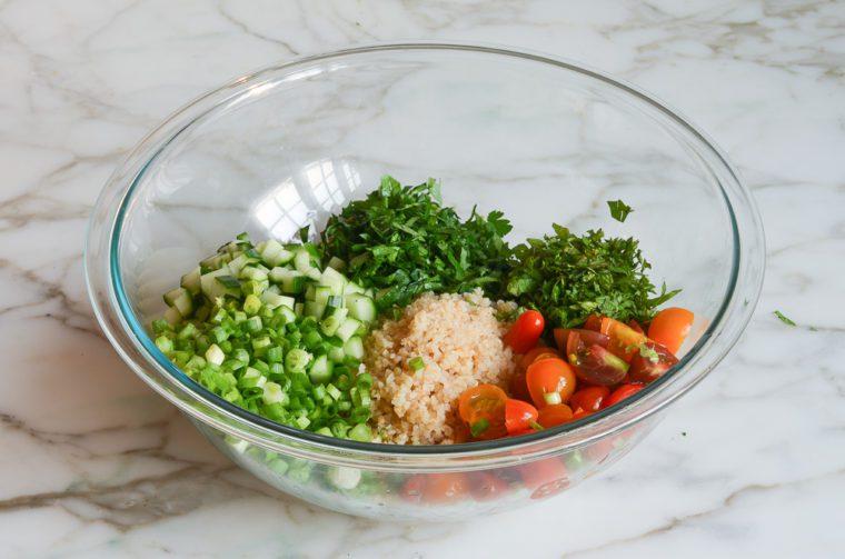 tabbouleh ingredients in bowl