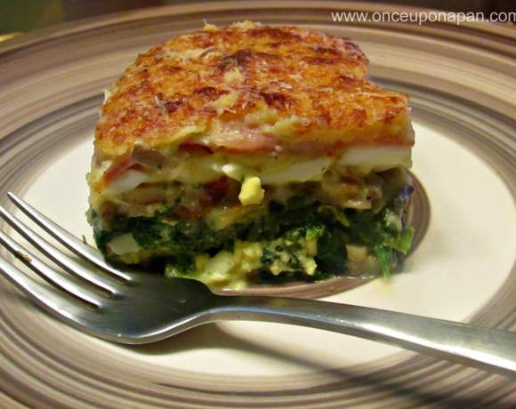 Egg pie with spinach