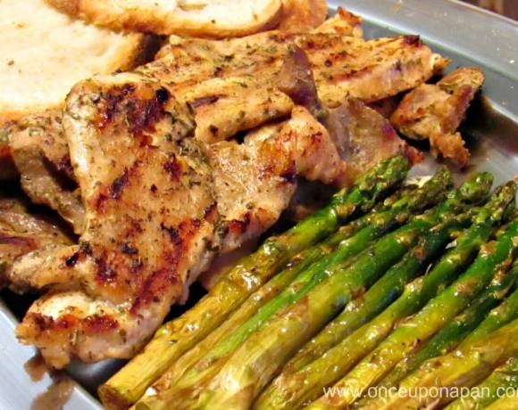 Grilled turkey steaks with asparagus