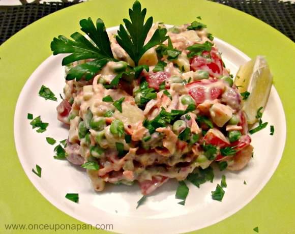 Olivier Salad with seafood