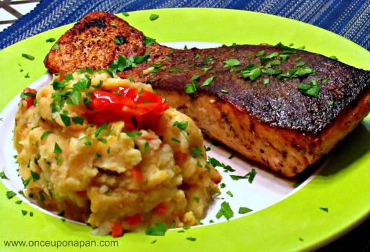 Grilled salmon with tomato and potato mash