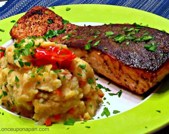 Grilled salmon with tomato and potato mash