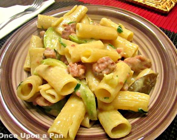 Pasta with Italian sausage and zucchini