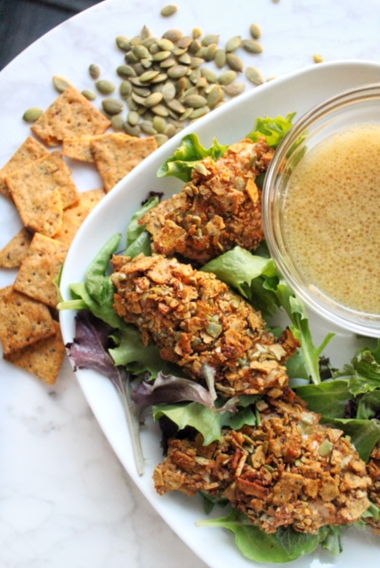 Pumpkin Seed Crusted Chicken Tenders