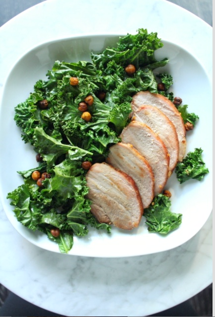 Simple Pork Roast with Crispy Kale and Turmeric Roasted Chickpeas