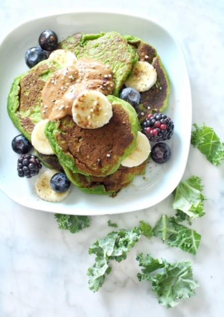 kale blueberry pancakes
