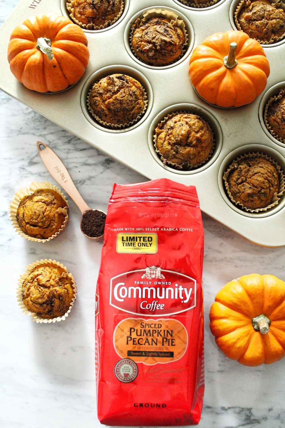 Spiced Pumpkin Blender Muffins with Community Coffee