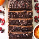 healthy chocolate cranberry pumpkin bread