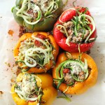 Healthy zucchini noodle stuffed peppers