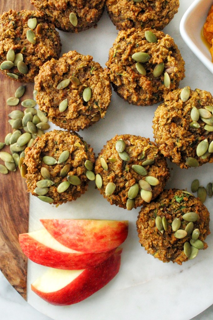 pumpkin muffins with zucchini and apple