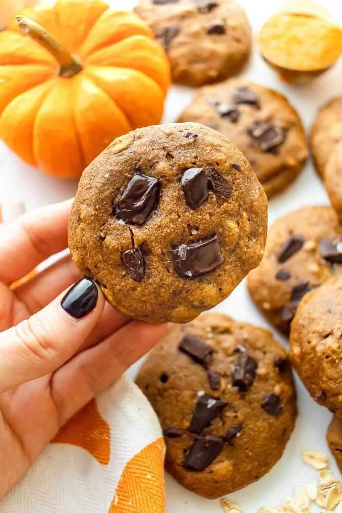 fluffy pumpkin chocolate chip cookie