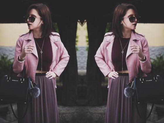 Chiodo Zara Pink biker jacket maxi skirt crop top lace up shoes