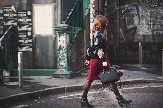 Leather bomber jacket longuette dress