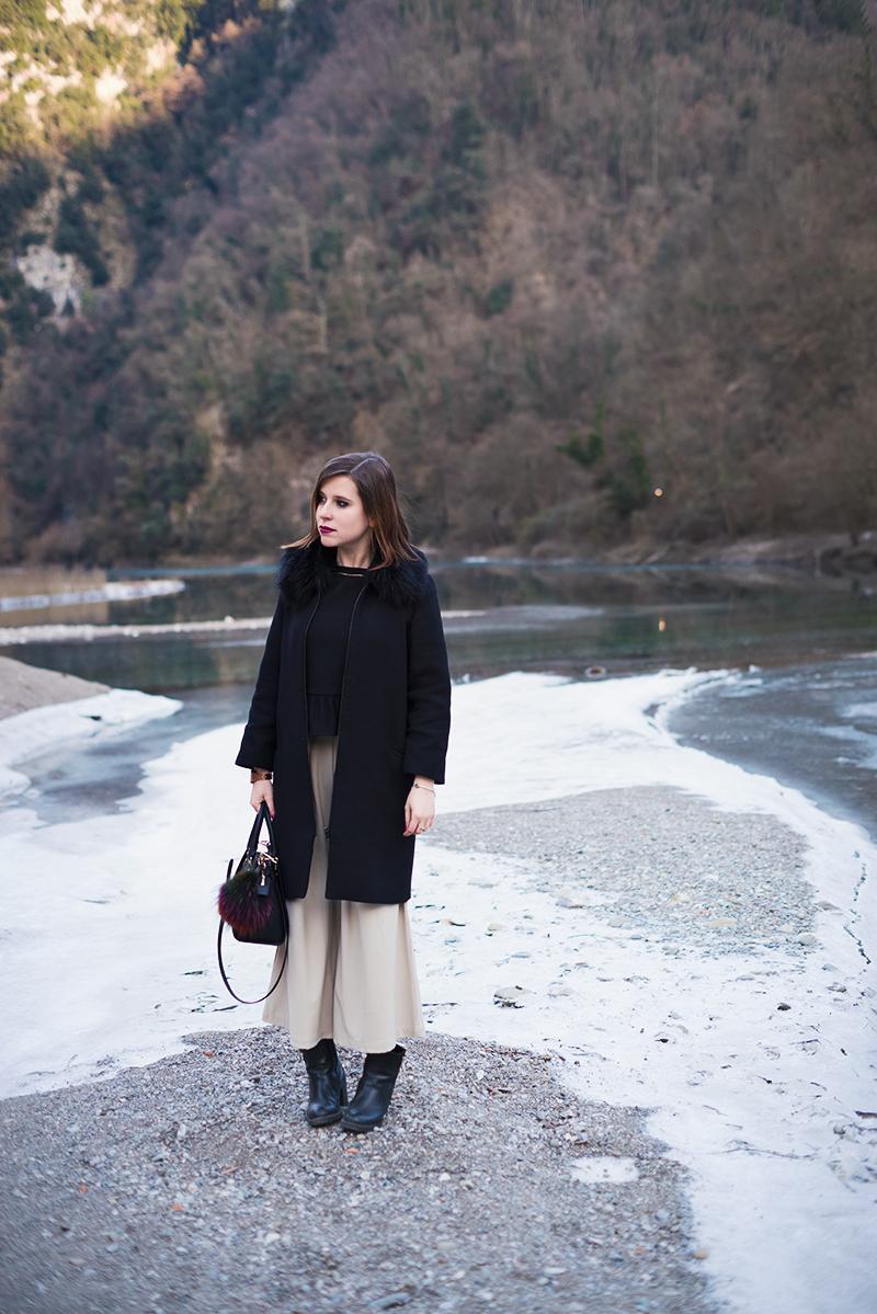 Culotte pants chiari in inverno