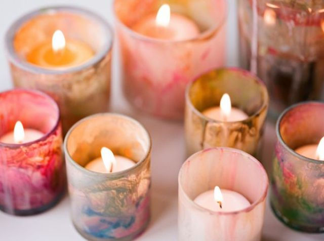 Painted votive candleholders