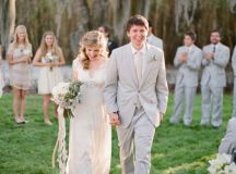 ivory-tan-light-gray-lace-wedding-outdoors - Once Wed