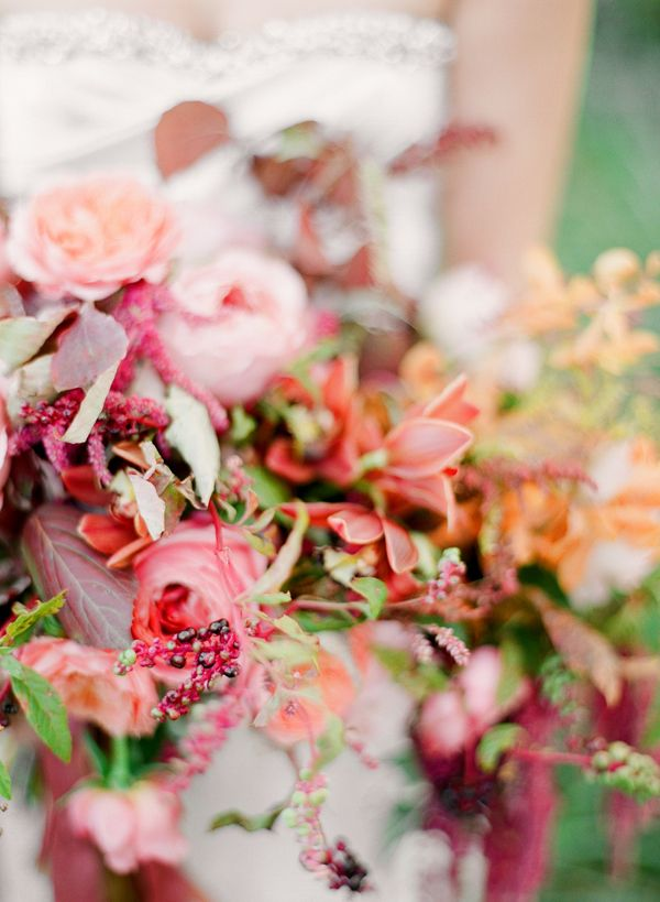 pinkmagentarosemauveorangefallweddingbouquet  Once Wed