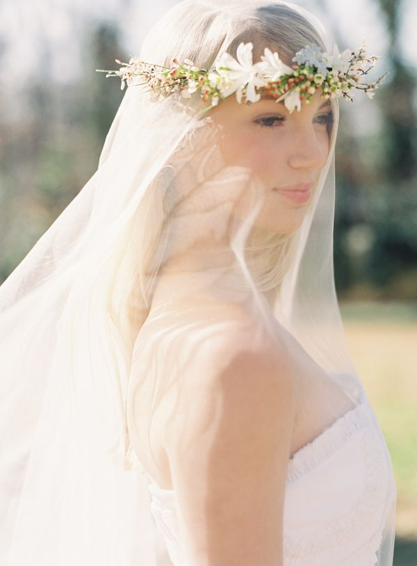 flowercrownweddingveil  Once Wed