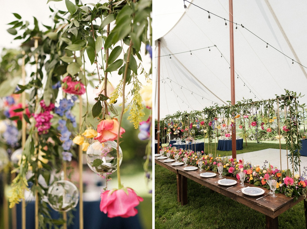 Reception flowers and decor by Lumme Creations at a summer wedding in Boulder.