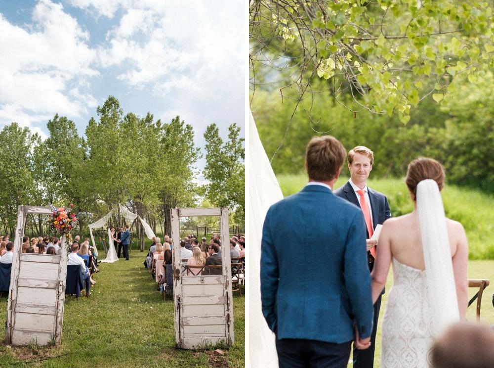 An outdoor wedding ceremony at Kelly Urban Farm in Boulder, Colorado.