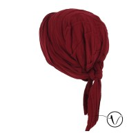 Elegant winter chemo head scarf Estelle - Carmine red ...