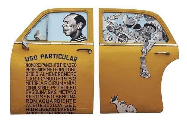 El-primo-segundo-de-Picasso,-2012;--mixta-sobre-metal;-120-x188-x-14cm