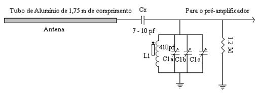 Active Antenna para VLF. Circuito de entrada para o pré-amplificador que ficava no  Conversor