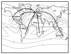 A carta mundial de isocurvas