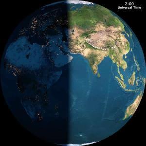 O dia e a noite da Terra como seria visto do espaço sem as nuvens às 02:00 GMT