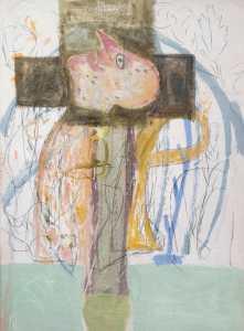 Mimmo Paladino - Olio su cartone telato cm. 102 x 72 _Caruso, anno 1992_
