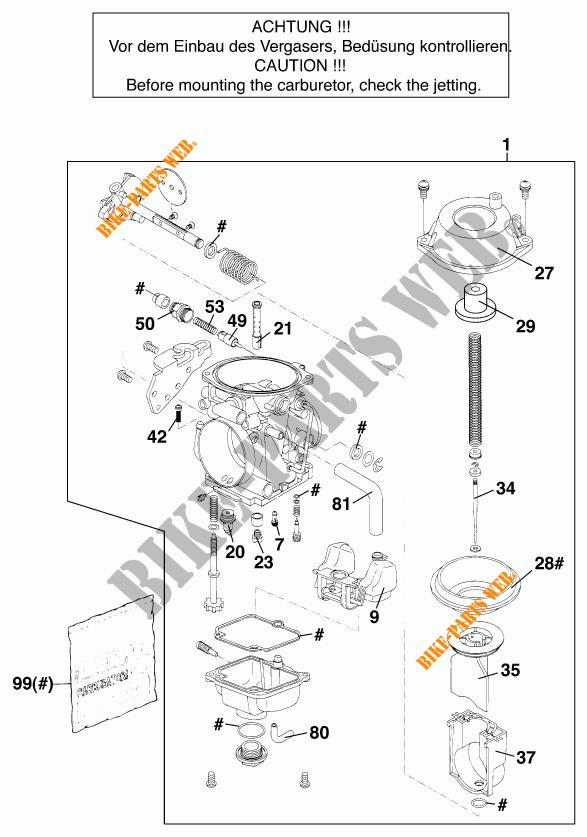 CARBURATEUR voor KTM 640 ADVENTURE R D 1998 # KTM