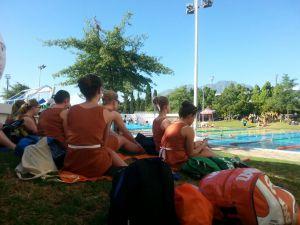 U19 dames bij het zwembad in Stellenbosch