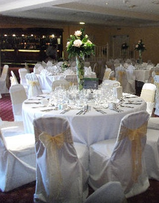 wedding chair covers devon cross back kitchen chairs weddings florist one2one let us follow your design through with co ordinated reception flowers table glass vase arrangements fresh rose petals cake decorations