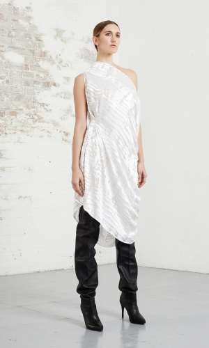 RionaTreacy Devoré Asymmetric Dress